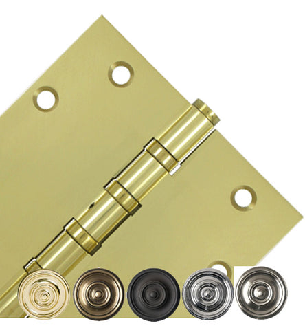 5 Inch X 5 Inch Solid Brass Non-Removable Pin Square Hinge
