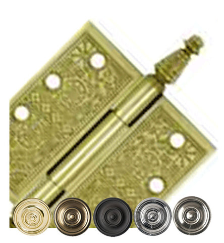 4 X 4 Inch Solid Brass Ornate Finial Style Hinge