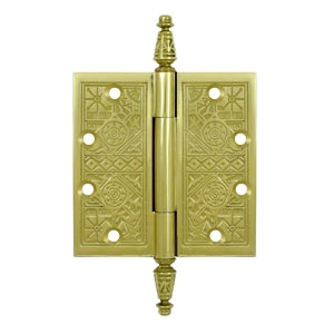 4 1/2 X 4 1/2 Inch Solid Brass Ornate Finial Style Hinge