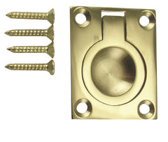 1 3/4 Inch Solid Brass Traditional Flush Ring Pull