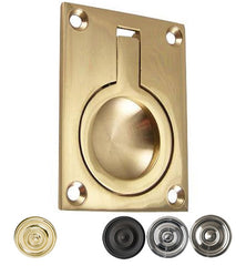 2 1/2 Inch Solid Brass Traditional Flush Ring Pull