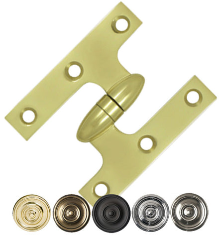3 Inch x 2 1/2 Inch Solid Brass Olive Knuckle Hinge