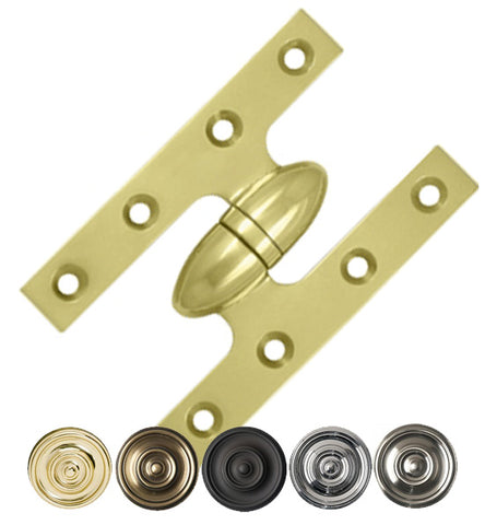 5 Inch x 3 1/4 Inch Solid Brass Olive Knuckle Hinge