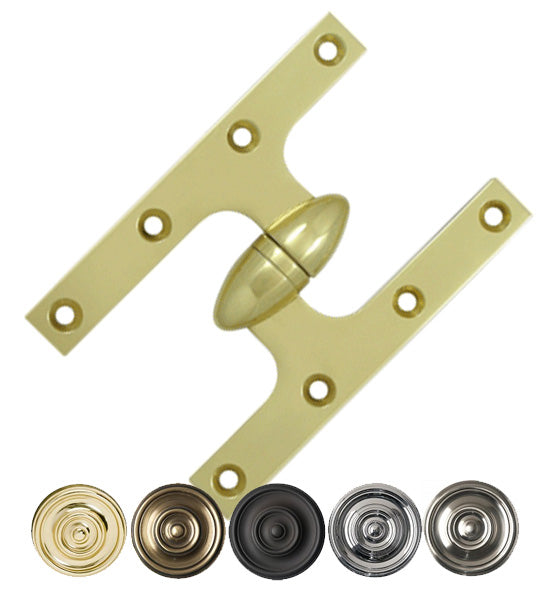 6 Inch x 4 Inch Solid Brass Olive Knuckle Hinge