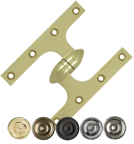 6 Inch x 4 1/2 Inch Solid Brass Olive Knuckle Hinge