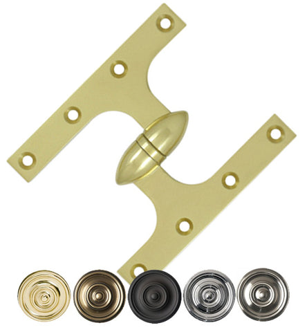 6 Inch x 5 Inch Solid Brass Olive Knuckle Hinge