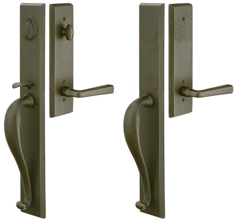 Solid Brass Rectangular Full Length Mortise Double Door Entryway Set