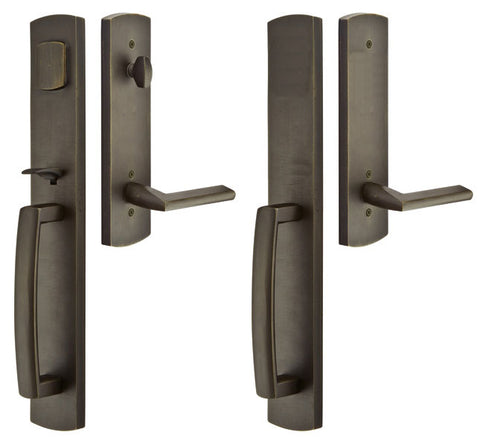 Solid Brass Longmont Style Mortise Double Door Entryway Set