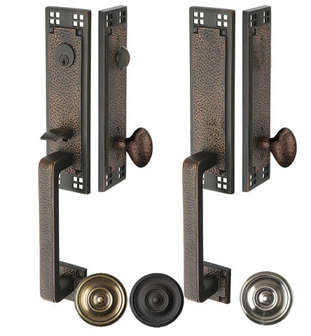 Arts & Crafts Style Tubular Latch Double Door Entryway Set