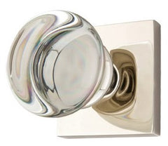 Round Crystal Door Knob Set with Square Rosette (Several Finishes)