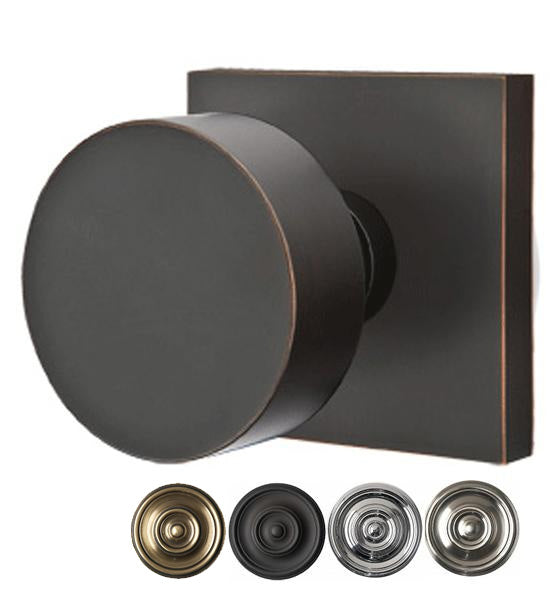 Solid Brass Round Door Knob Set With Square Rosette (Several Finishes)