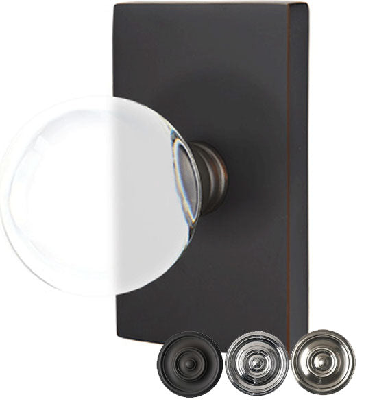 Emtek Crystal Bristol Door Knob Set With Modern Rectangular Rosette