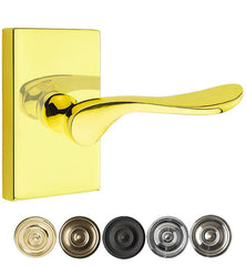 Emtek Solid Brass Luzern Lever With Modern Rectangular Rosette
