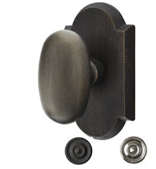 Solid Brass Sandcast Egg Door Knob Set With Arched Rosette