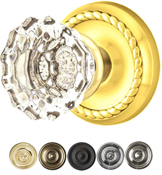Emtek Crystal Astoria Door Knob Set With Rope Rosette