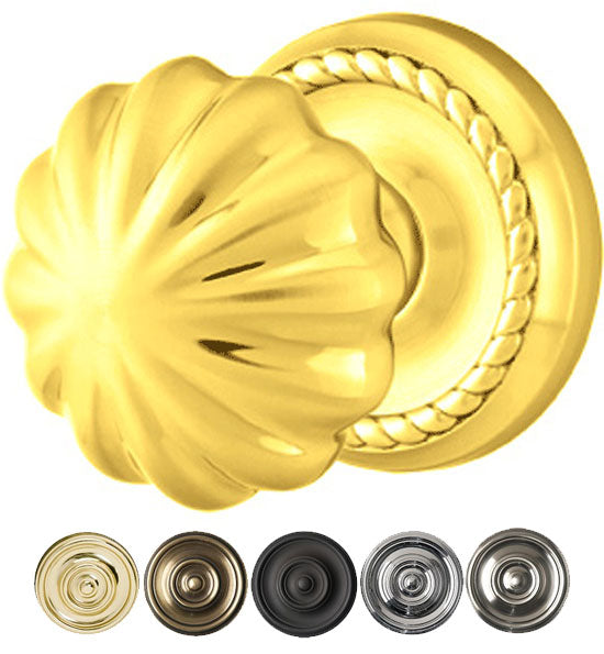 Solid Brass Melon Door Knob Set With Rope Rosette