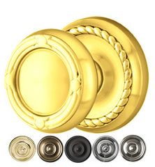 Solid Brass Ribbon & Reed Door Knob Set Rope Rosette Several Finishes