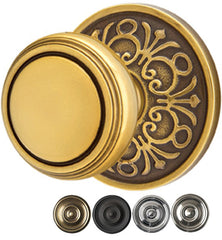 Solid Brass Norwich Door Knob Set With Lancaster Rosette
