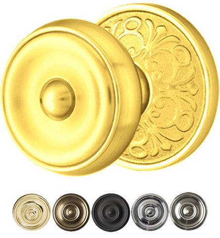 Solid Brass Waverly Door Knob Set With Lancaster Rosette