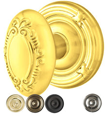Solid Brass Victoria Door Knob Set With Ribbon & Reed Rosette