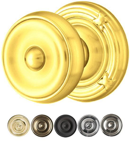 Solid Brass Waverly Door Knob Set With Ribbon & Reed Rosette