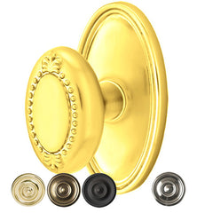 Solid Brass Beaded Egg Door Knob Set With Oval Rosette