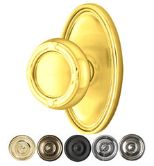Solid Brass Ribbon & Reed Door Knob Set With Oval Rosette