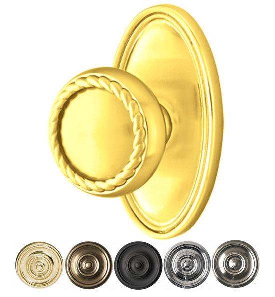 Solid Brass Rope Door Knob Set With Oval Rosette