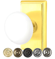Ice White Porcelain Door Knob Set With Rectangular Rosette