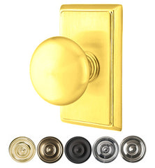 Solid Brass Providence Door Knob Set With Rectangular