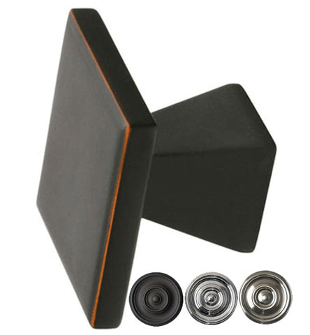 Emtek Solid Brass Square Podium Cabinet & Furniture Knob