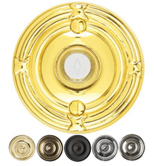 2 3/4 Inch Solid Brass Doorbell Button with Ribbon & Reed Rosette