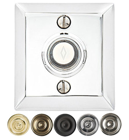 2 5/8 Inch Solid Brass Doorbell Button with Quincy Rosette
