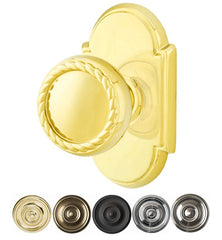 Solid Brass Rope Door Knob Set With # 8 Rosette