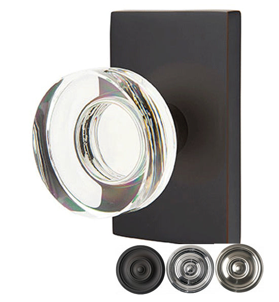 Emtek Modern Disc Crystal Door Knob Set Modern Rectangular Rosette