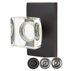 Emtek Modern Square Crystal Door Knob Set Modern Rectangular Rosette