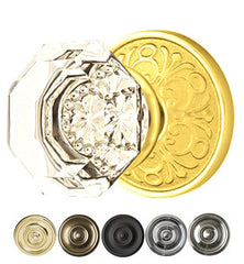 Emtek Crystal Old Town Clear Door Knob Set With Lancaster Rosette