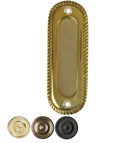 Oval Georgian Roped Solid Brass Pocket Door Pull