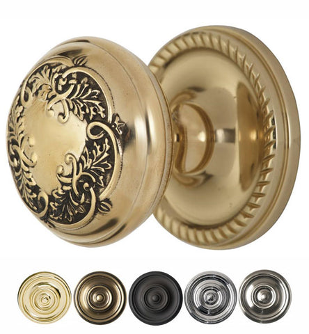 Floral Leaf Solid Brass Door Knob With Roped Rosette