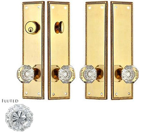 Georgian Roped Double Door Deadbolt Entryway Set in Polished Brass