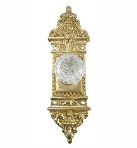 Regency Fluted Glass Door Knob with French Provincial Plate