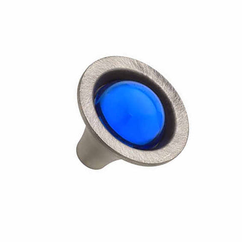 1 1/4 Inch Cobalt Blue Glass Sapphire Style Glass Knob