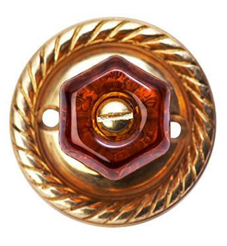 Round Rope Warm Amber Octagon Crystal Cabinet & Furniture Knob