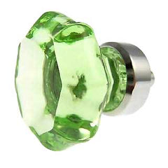 1 3/8 Inch Depression Green Glass Octagon Old Town Cabinet Knob (Chrome Base)