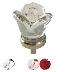 1 1/4 Inch Crystal Clear Glass Rose Shape Knob