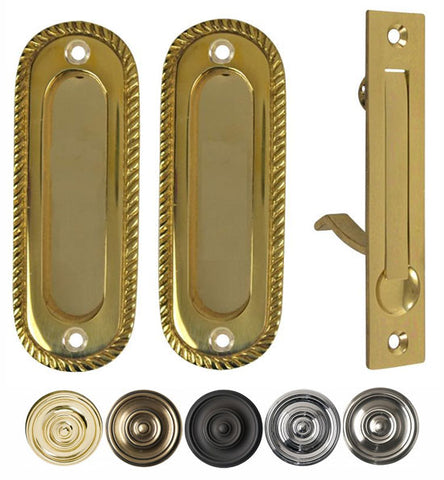 Georgian Oval Pattern Pocket Passage Style Door Set