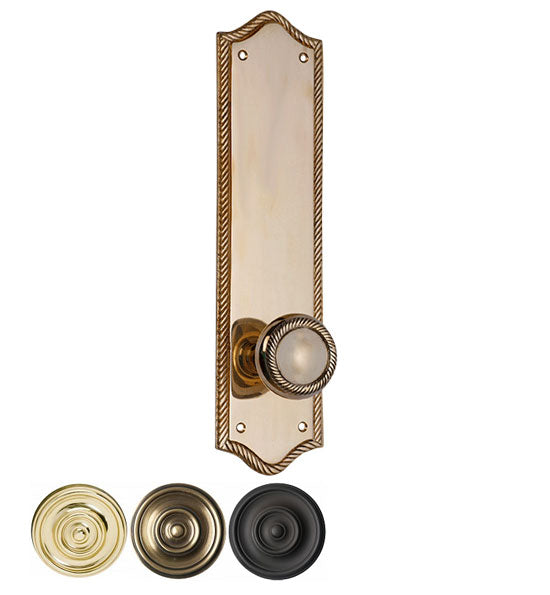 Solid Brass Georgian Roped Door Knob Set with Edged Backplate