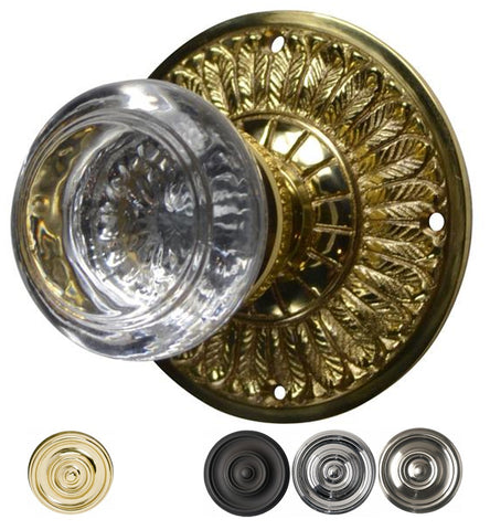 Savannah Round Crystal Door Knob with Feather Rosette