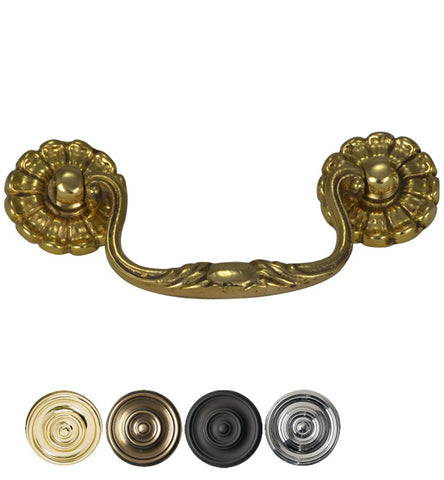 4 Inch Overall (3 Inch c-c) Solid Brass Floral Bail Pull