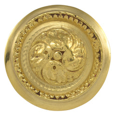 2 Inch Solid Brass Beaded Victorian Cabinet Knob